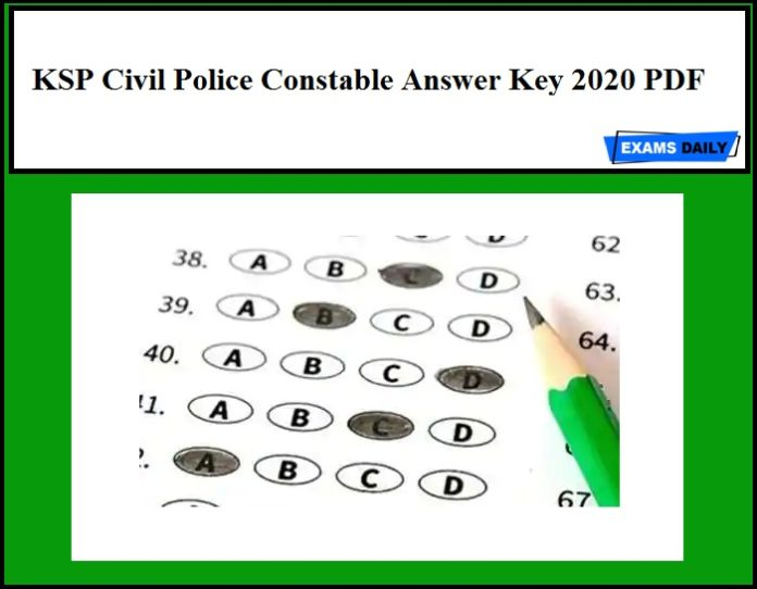 KSP Civil Police Constable Answer Key 2020 PDF