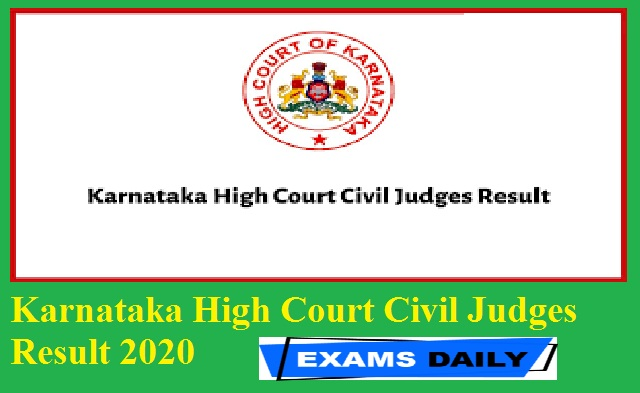 Karnataka High Court Civil Judges Result 2020