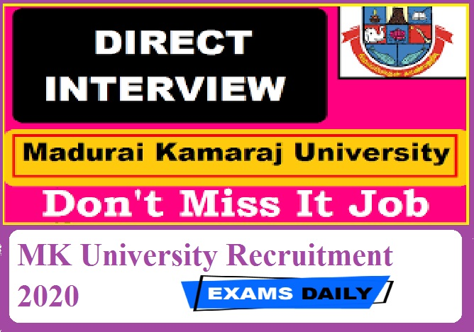 MK University Recruitment 2020 Out – Apply Online for Technical Assistant Posts Here!!!!