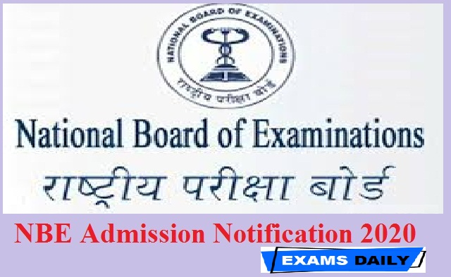 NBE Admission Notification 2020
