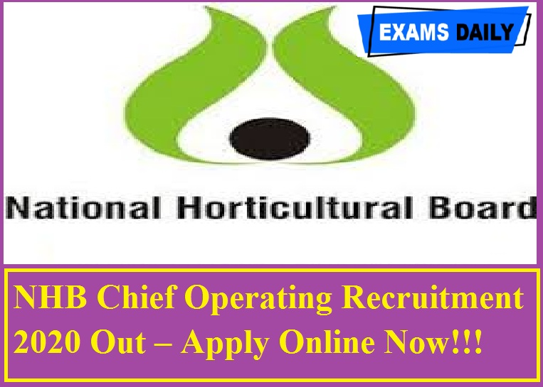 NHB Chief Operating Recruitment 2020 Out – Apply Online Now!!!