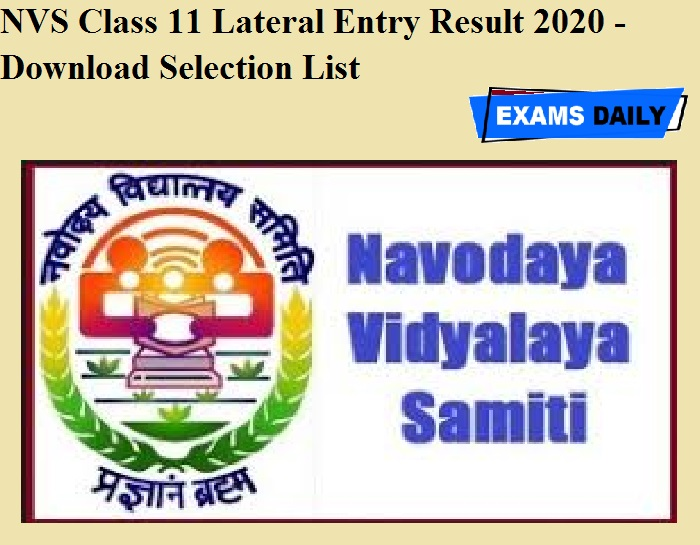 NVS Class 11 Lateral Entry Result 2020 OUT - Download Selection List
