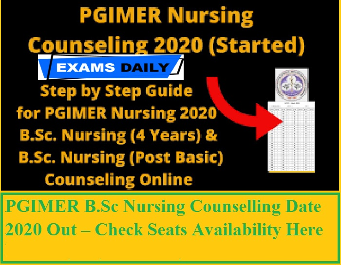 PGIMER B.Sc Nursing Counselling 2020 Out – Download Vacancy for B.Sc. Nursing (4 Years) & (Post Basic) Here