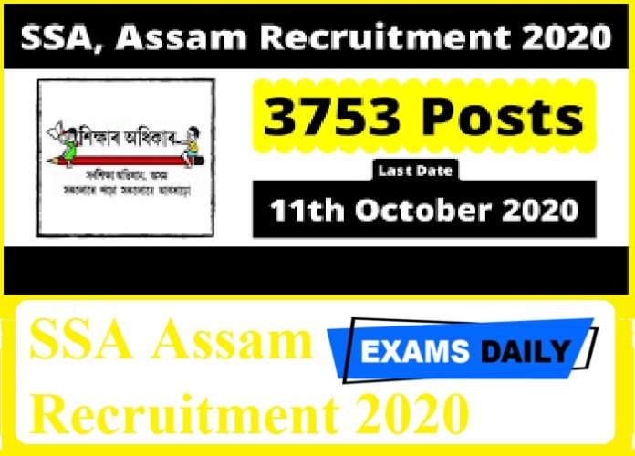 SSA Assam Recruitment 2020 Out – Apply Online for 3753 Vacancies Here!!!