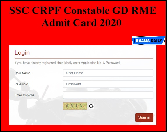 SSC CRPF Constable GD RME Admit Card 2020