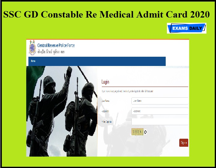 SSC GD Constable Re Medical Admit Card 2020