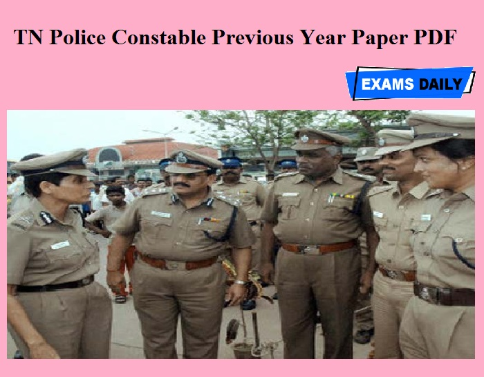 TN Police Constable Previous Year Paper PDF