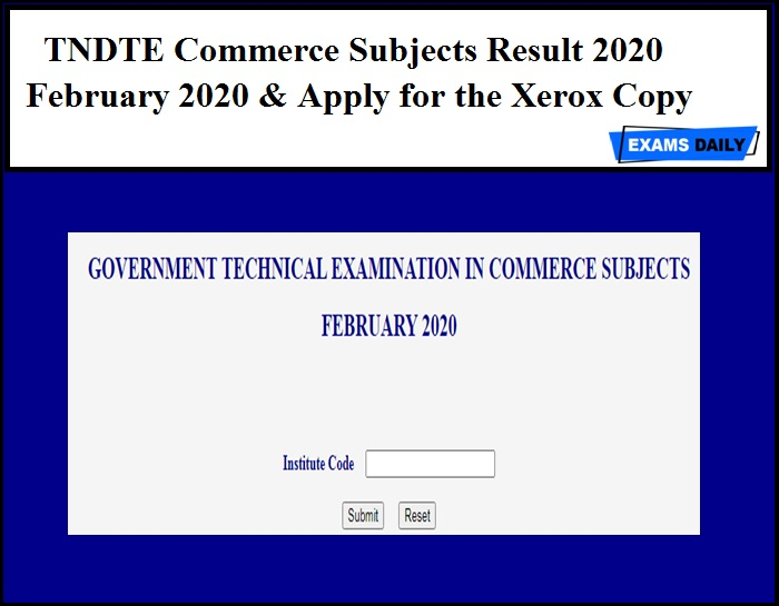 TNDTE Commerce Subjects Result 2020 Out for February 2020 – Download Apply for the Xerox Copy