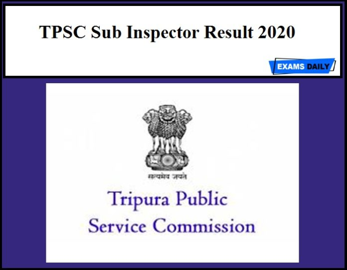 TPSC Sub Inspector Result 2020