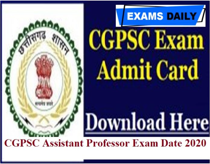 CGPSC Assistant Professor Exam Date 2020 Out – Check Admit Card Here!!!