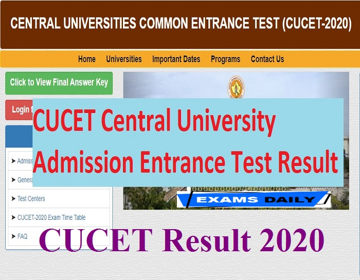 CUCET Result 2020 Out – Download Score Card, Merit List Here!!!!