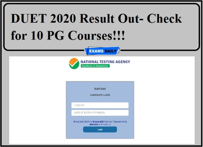 DUET 2020 Result Out- Check for 10 PG Courses!!!