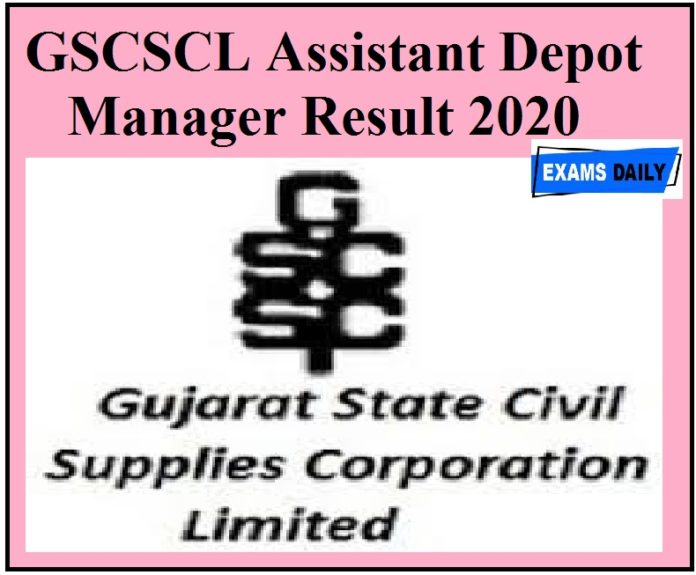 GSCSCL Assistant Depot Manager Result 2020 Released