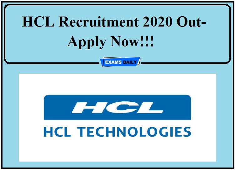 HCL Recruitment 2020 Out- Apply Now!!! 2