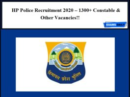 HP Police Recruitment 2020 – 1300+ Constable & Other Vacancies!!