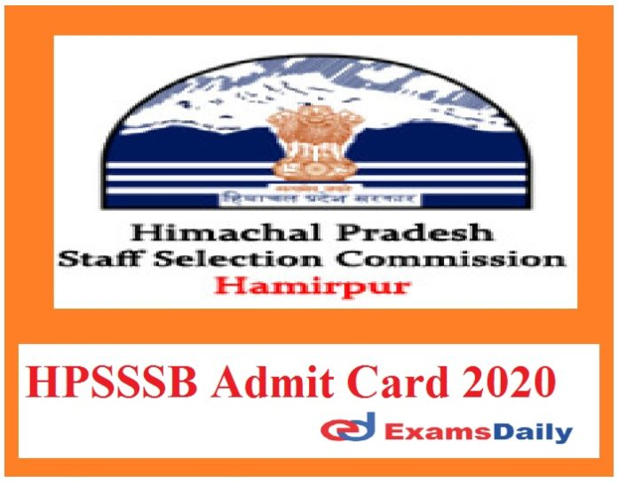 HPSSSB Admit Card 2020 Out – Download Surveyor Exam Date Here!!!