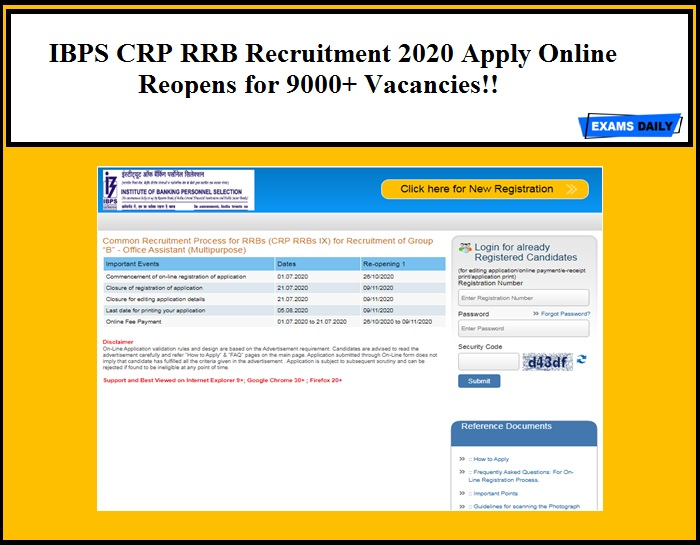 IBPS CRP RRB Recruitment 2020 Apply Online Reopens for 9000+ Officer Scale I, II, III & Office Asst Vacancies!! Check Details Here