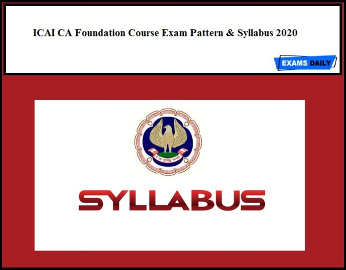 ICAI CA Foundation Course Exam Pattern & Syllabus 2020