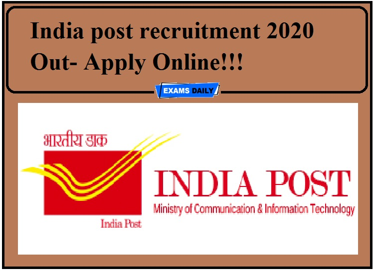 India post recruitment 2020 Out- Apply Online!!!