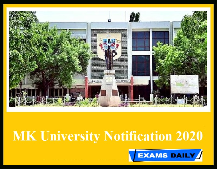 MK University Notification 2020 Out – Download Application Form Here!!!