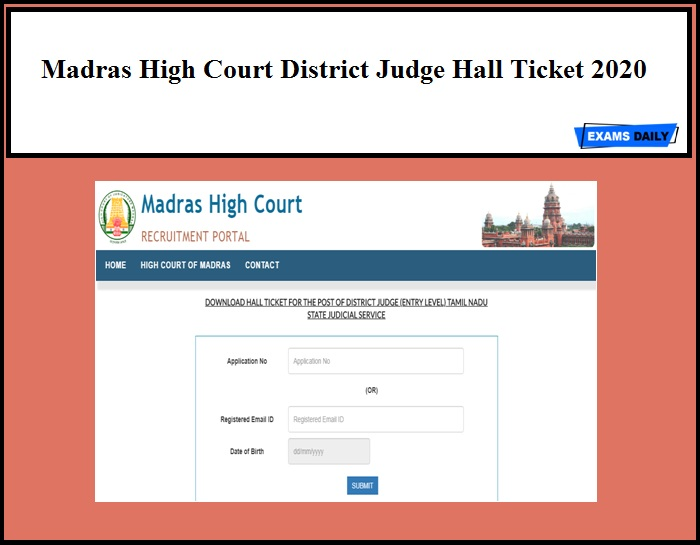 Madras High Court District Judge Hall Ticket 2020