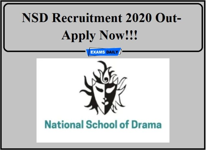 NSD Recruitment 2020 Out- Apply Now!!!