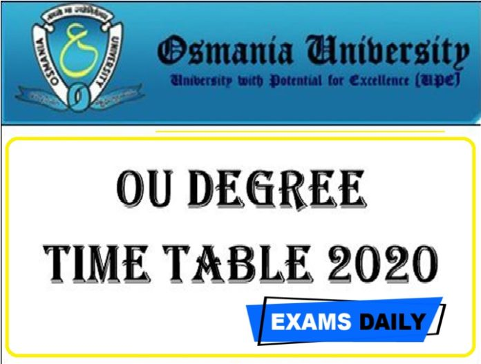 Osmania University Degree Exam Time Table 2020 Out – Download 1st, 2nd, 3rd, 4th, 5th Sem (BA, B.Com, B.SC, BBA) Here!!!