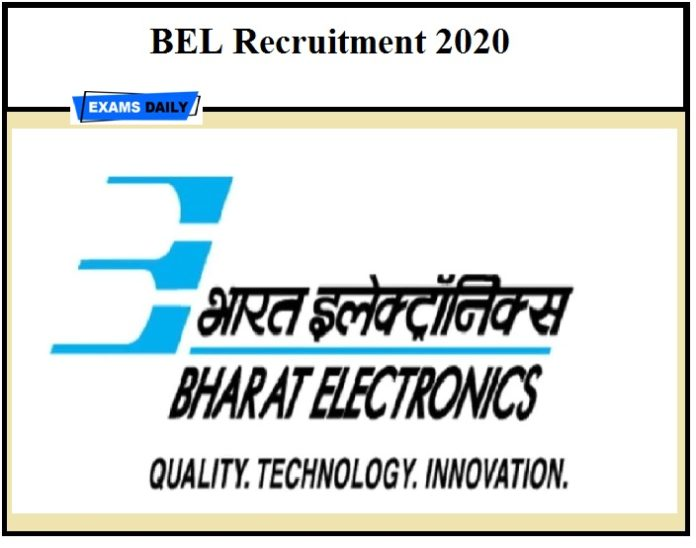 BEL Recruitment 2020, Apply Online, Project Engineer, Trainee Engineer, Vacancy, notification