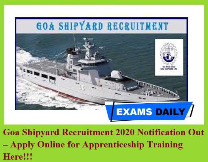 Goa Shipyard Recruitment 2020 Notification Out – Apply Online for Apprenticeship Training Here!!!
