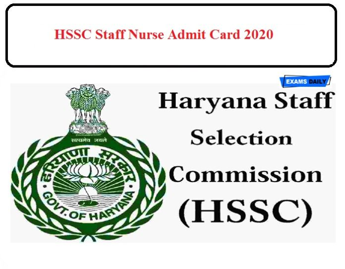 HSSC Staff Nurse Exam Date 2020 Released