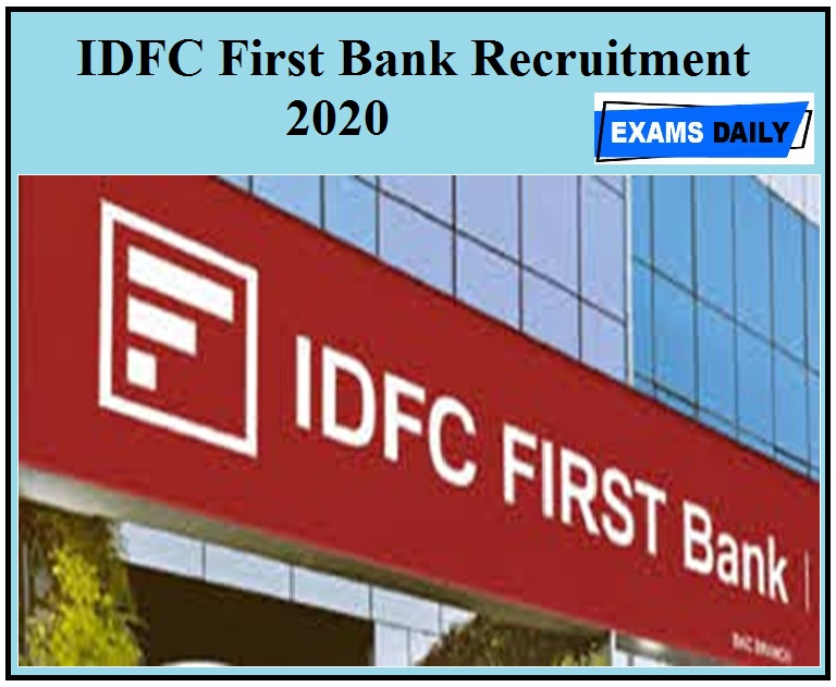 IDFC First Bank Recruitment 2020 apply for Area Collection Manager vacancies check official notice detail here