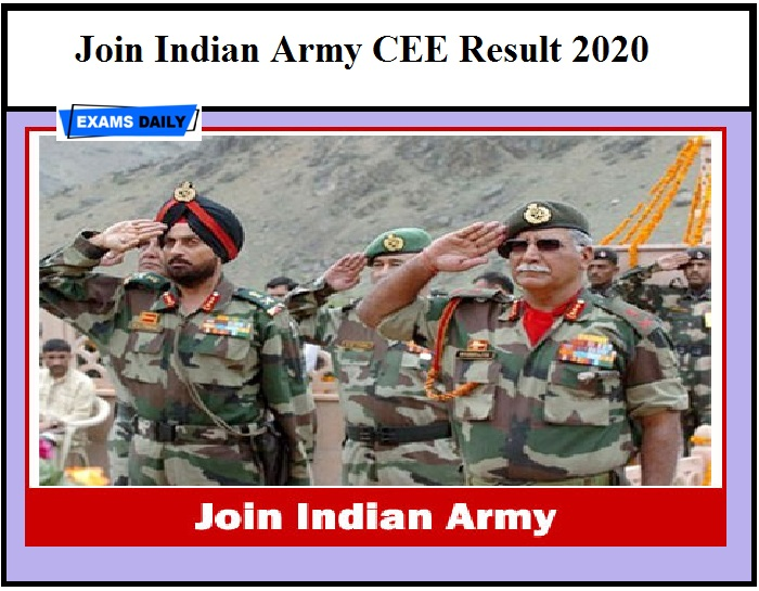 Join Indian Army CEE Result 2020 OUT – Download Selection List for Soldier General Duty & Other Post