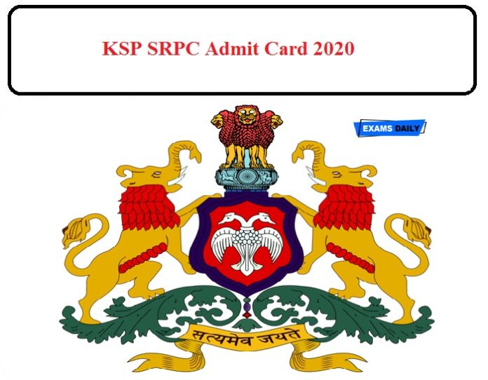 KSP SRPC Admit Card 2020 Released