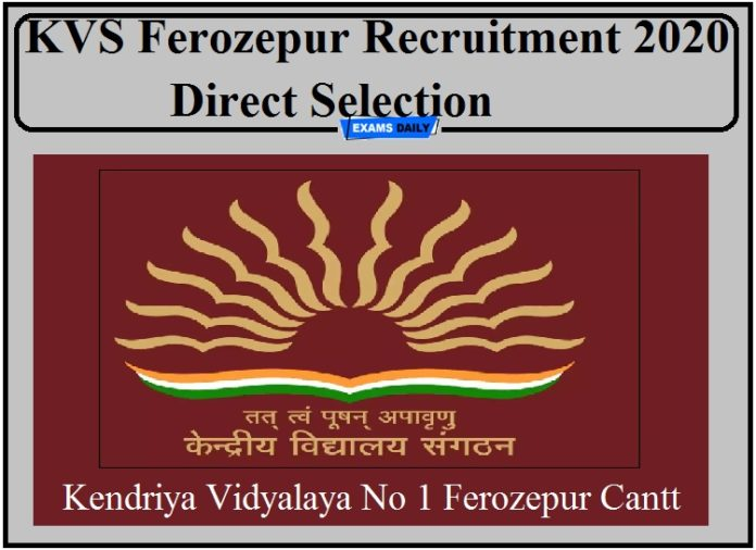 KVS Ferozepur Recruitment 2020 Out- Direct Selection Apply for PGT TGT Post!!!