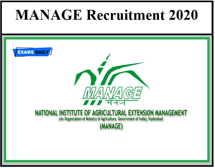 MANAGE Recruitment 2020 OUT –Check Eligibility Here Download Application Form @www.manage.gov.in