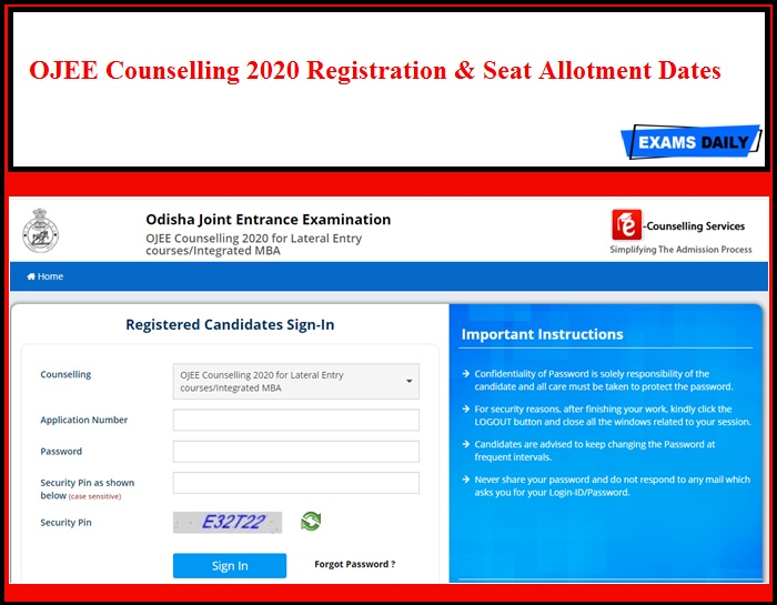 OJEE Counselling 2020 Registration & Seat Allotment Dates
