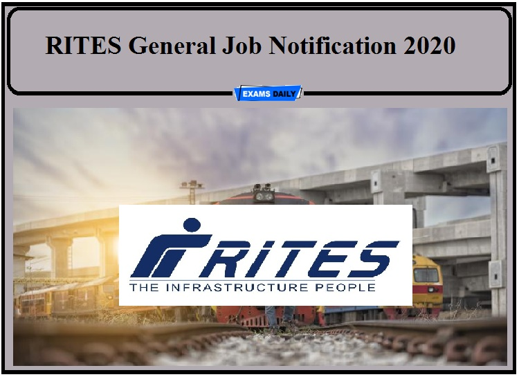 RITES Job Notification 2020 Out- Apply for General Manager!!!