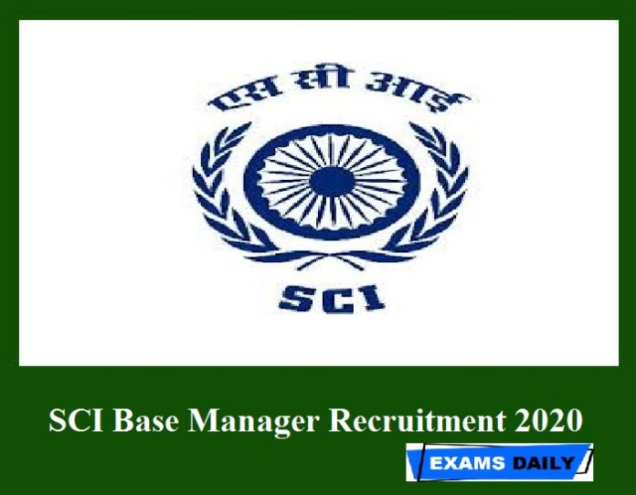 SCI Base Manager Recruitment 2020 Out – Apply Online for Technical Superintendents Here!!!