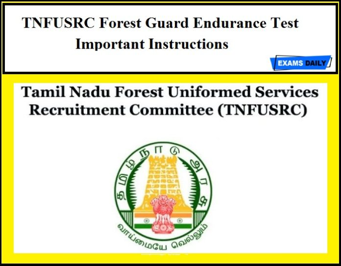 TNFUSRC Forest Guard Endurance Test Important Instructions
