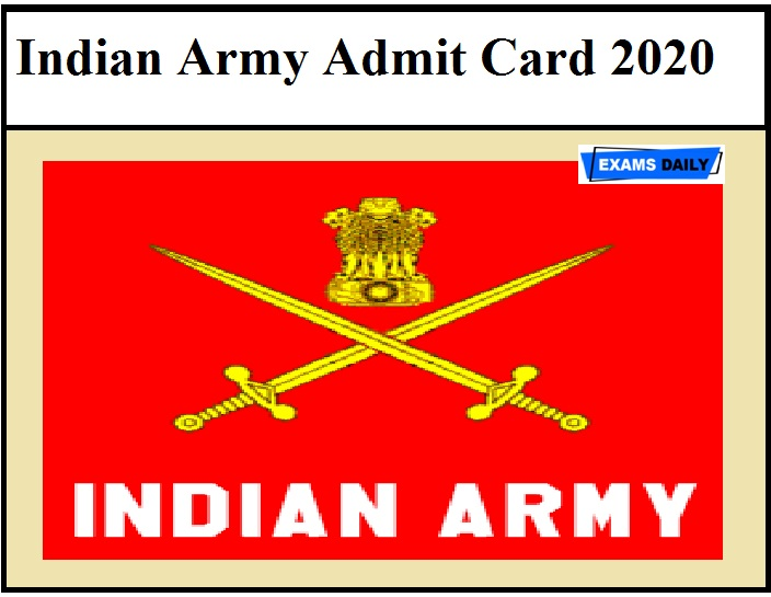 23 FAD Admit Card 2020 – Check Indian Army Tradesman Mate Exam Date Details Here!!!