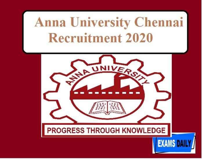 Anna University Chennai Recruitment 2020 out –JRF Vacancy Apply Now!!
