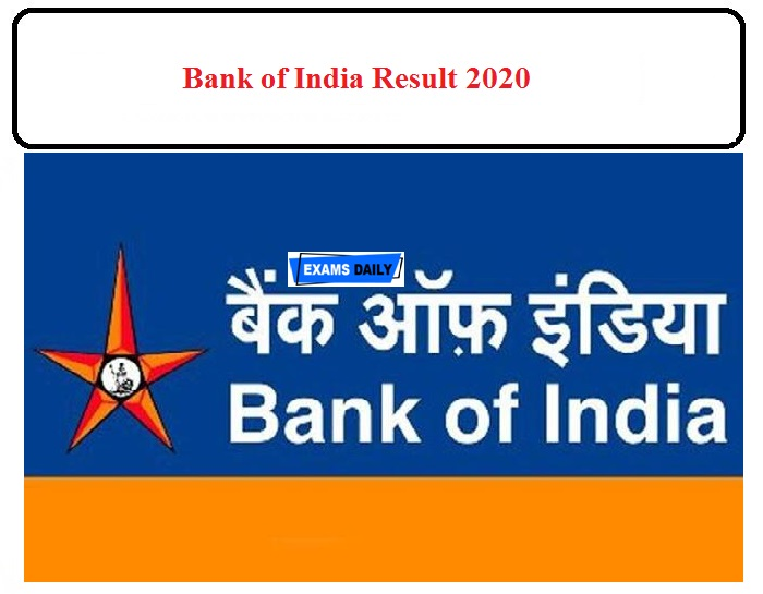 Bank of India Result 2020