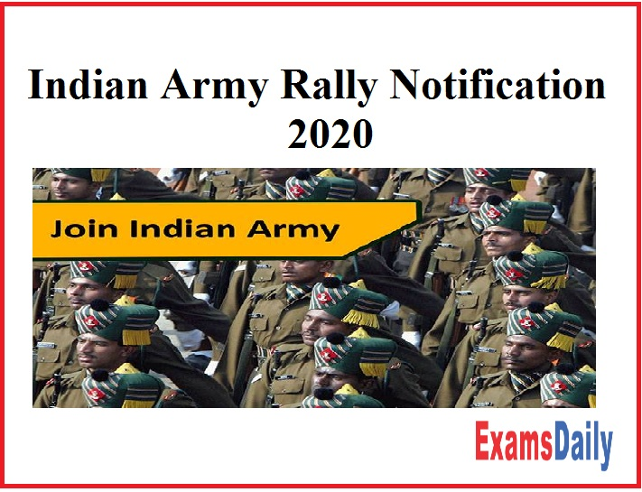 Indian Army Rally Notification 2020