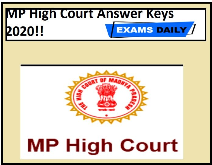 MP High Court Answer Keys 2020