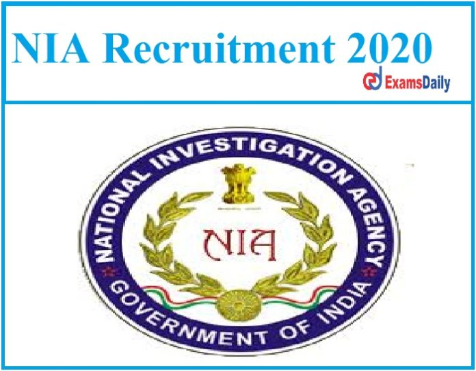 NIA Recruitment 2020 Out Additional Superintendent of Police!!!