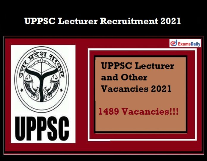 UPPSC Lecturer Recruitment 2021 OUT