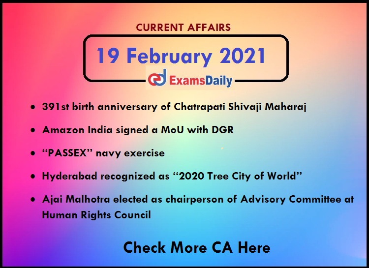 Daily Current Affairs of 19 February 2021