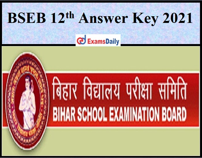 BSEB 12th Answer Key 2021
