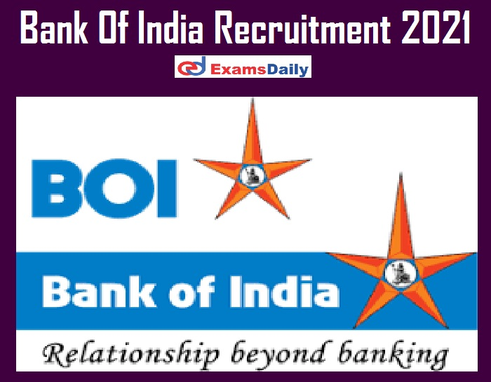 Bank Of India Recruitment 2021 - Apply Online Closed On 26.03.2021 Hurry Up!!!