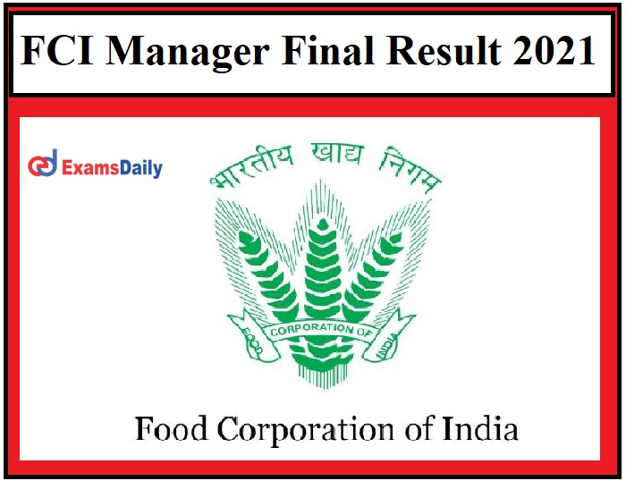 FCI Manager Final Result 2021 OUT – Download Selection List